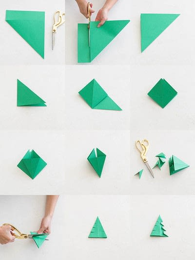 How to fold an origami tree. Origami Christmas Trees - Step 1