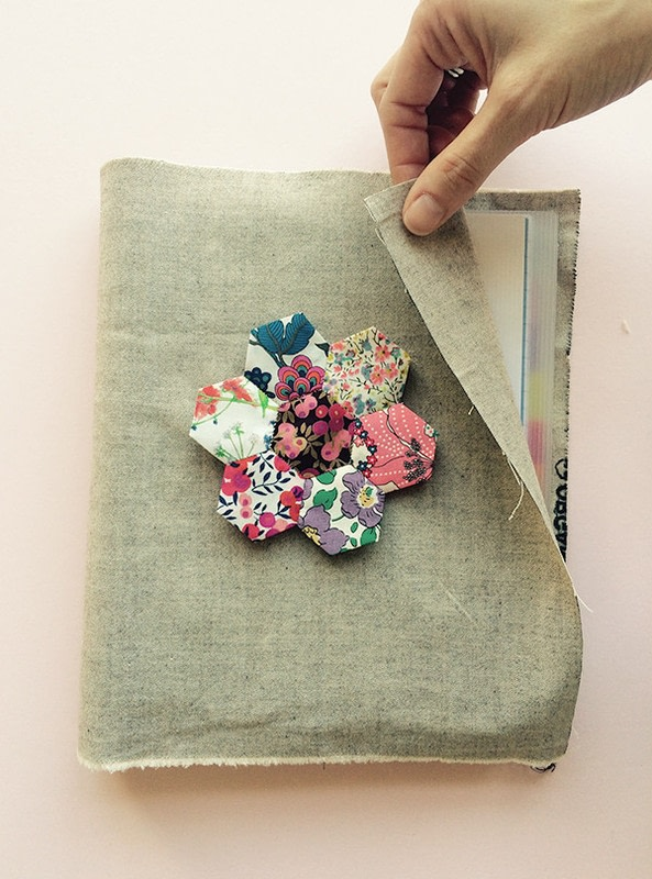 How To Make A Book Cover Out Of Notebook Paper : Hexagon paper pieced notebook cover · how to make a fabric