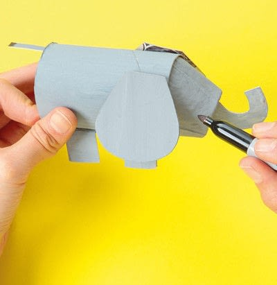 How to make a paper roll model. Ellie The Elephant - Step 10