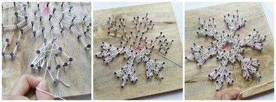 How to make string art. Diy Snowflake String Art - Step 5