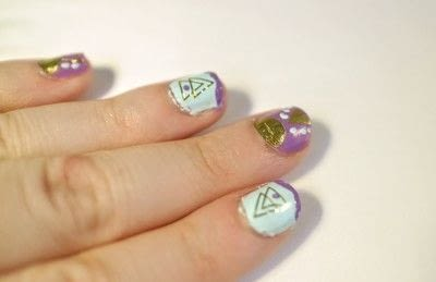 How to paint a geometric nail manicure. Geo Aztec Nails - Step 8