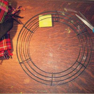 How to make a fabric wreath. 2 Scarves To 1 Wreath - Step 1