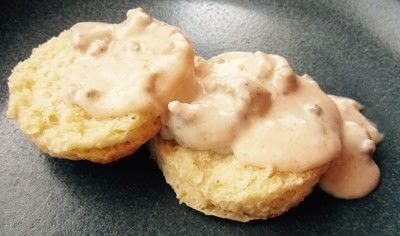 How to cook a biscuits and gravy dish. Southern Sausage Gravy Biscuits - Step 10