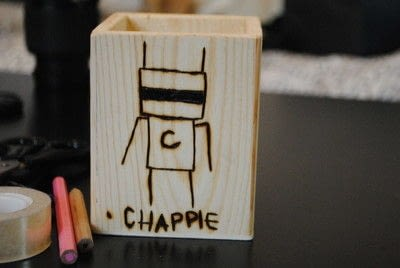 How to make a wood burned box. Woodburned Chappie Pen And Pencil Holder - Step 1