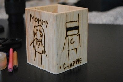 How to make a wood burned box. Woodburned Chappie Pen And Pencil Holder - Step 2