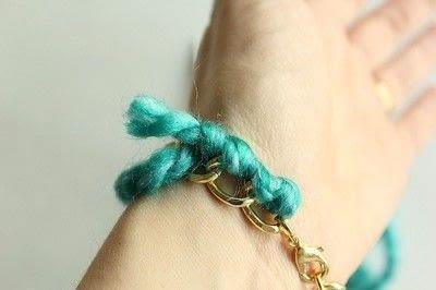 How to make a braided yarn bracelet. Yarn Wrapped Bracelet - Step 9