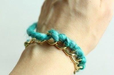 How to make a braided yarn bracelet. Yarn Wrapped Bracelet - Step 10