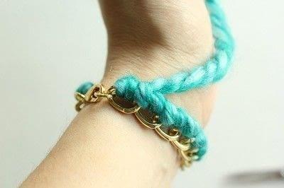 How to make a braided yarn bracelet. Yarn Wrapped Bracelet - Step 12