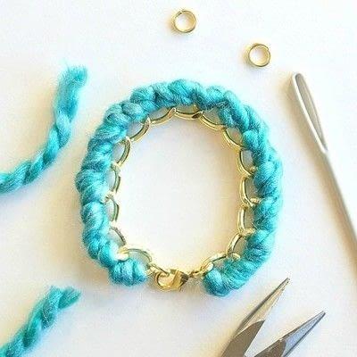 How to make a braided yarn bracelet. Yarn Wrapped Bracelet - Step 13