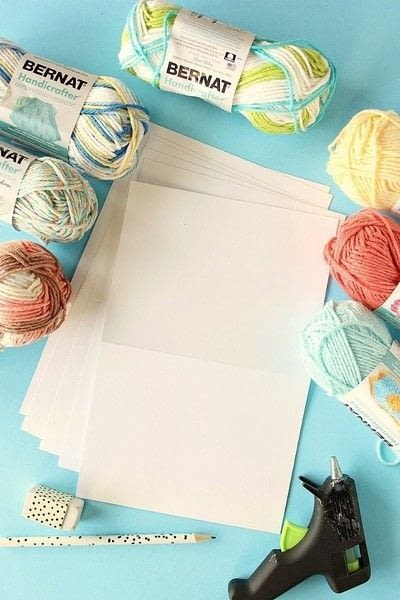 How to make a stitched card. DIY Yarn Embellished Cards - Step 1