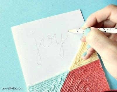 How to make a stitched card. DIY Yarn Embellished Cards - Step 8