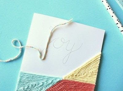 How to make a stitched card. DIY Yarn Embellished Cards - Step 9