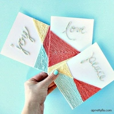 How to make a stitched card. DIY Yarn Embellished Cards - Step 11