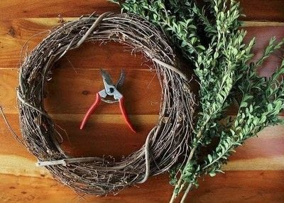 How to make a branch & twig wreath. How To Make A Boxwood Wreath - Step 1