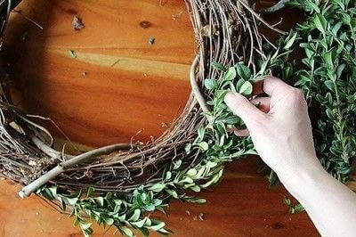 How to make a branch & twig wreath. How To Make A Boxwood Wreath - Step 3