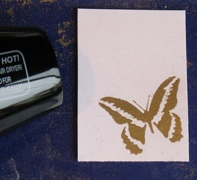 How to heat emboss . Embossing Ink Stenciling Technique  - Step 5