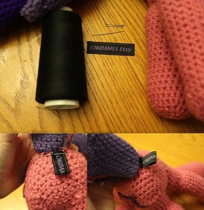 How to make a packaging labels. Attaching A Label To Crochet - Step 3