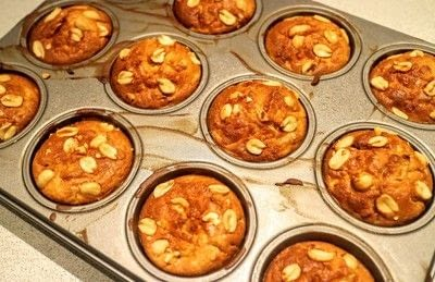 How to bake an apple muffin. Apple & Peanut Muffins - Step 8