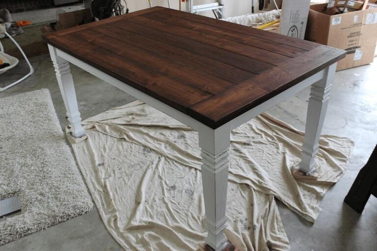 Farmhouse table how to make a table home diy on cut for Farmhouse dining table plans