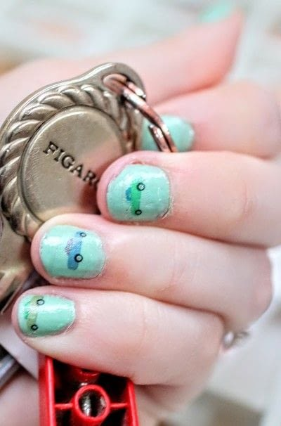 How to paint an embellished nail manicure. Figaro Nail Decals - Step 7
