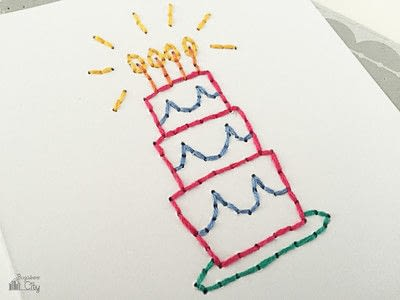How to stitch an embroidered card. Embroidered Cards Using Woven Labels - Step 5