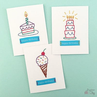 How to stitch an embroidered card. Embroidered Cards Using Woven Labels - Step 7