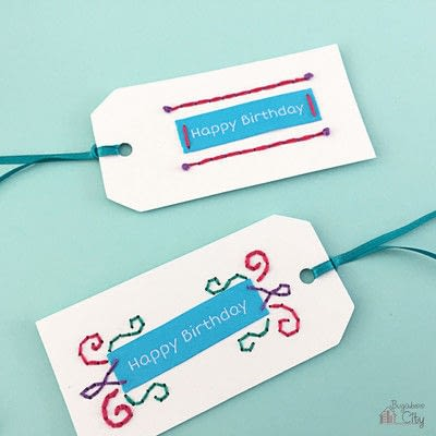 How to stitch an embroidered card. Embroidered Cards Using Woven Labels - Step 8