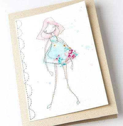 How to make a stitched card. Free Motion Stitched Whimsical Greeting Cards : : Tutorial - Step 7