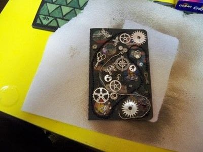 How to decorate an altered journal. Steampunk Journal With Canvascorpsbrands Products - Step 8