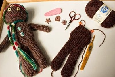 How to make a gingerbread man plushie. Crochet Gingerbread Man  - Step 7