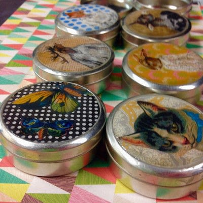 How to make a mint tin for trinkets. Collage Tins - Step 1