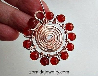 How to make a wire wrapped pendant. Beaded Spiral Pendant Tutorial - Step 9