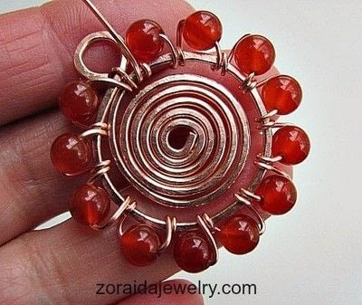 How to make a wire wrapped pendant. Beaded Spiral Pendant Tutorial - Step 10
