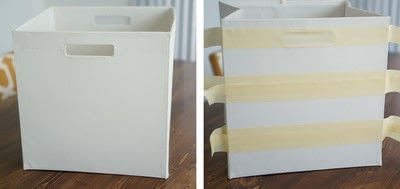 How to paint a painted box. Painted Fabric Bins - Step 2