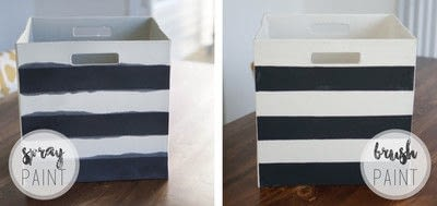 How to paint a painted box. Painted Fabric Bins - Step 3