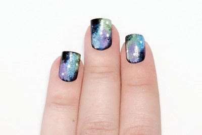 How to paint patterned nail art. Galaxy Nails - Step 9