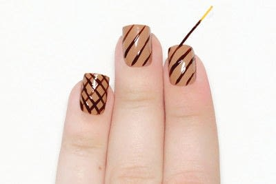 How to paint a food nail. Ice Cream Cone Nails - Step 2