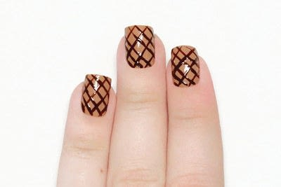 How to paint a food nail. Ice Cream Cone Nails - Step 3