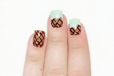 How to paint a food nail. Ice Cream Cone Nails - Step 5