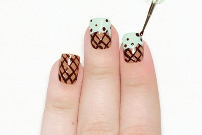 How to paint a food nail. Ice Cream Cone Nails - Step 6