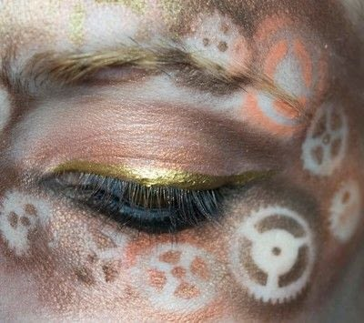 How to create a mask face makeup look. Steampunk Mask - Step 6