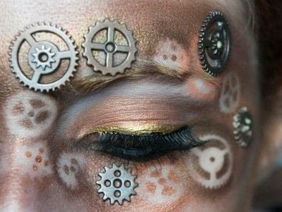 How to create a mask face makeup look. Steampunk Mask - Step 7