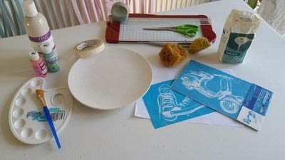 How to make a plate. Creating Stripes And Using A Silk Screen On Pottery - Step 1