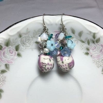 How to make a dangle earring. Owl Cluster Earrings - Step 3