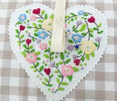 How to make a shape plushie. Embroidered Love Heart - Step 2