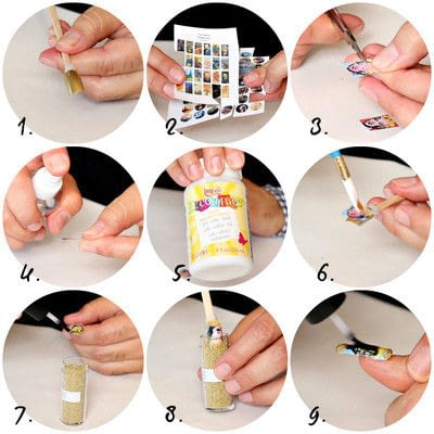How to paint an embellished nail manicure. Art Gallery Manicure - Step 3
