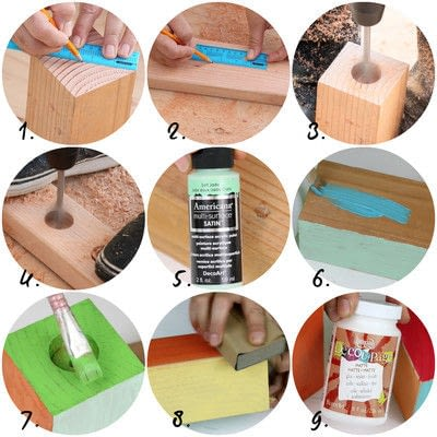 How to make a votive / candle holder. Wood Block Candle Holders - Step 3
