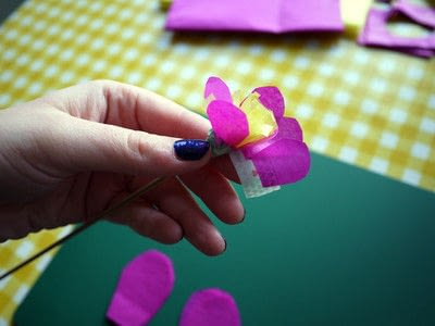 How to make a paper flower. Tissue Paper Flowers - Step 12