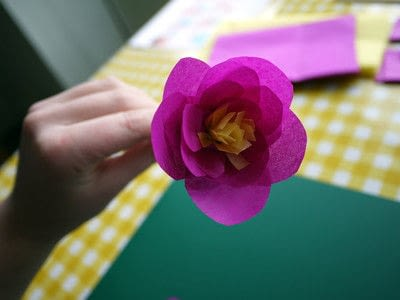 How to make a paper flower. Tissue Paper Flowers - Step 17