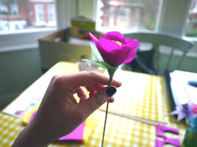How to make a paper flower. Tissue Paper Flowers - Step 19
